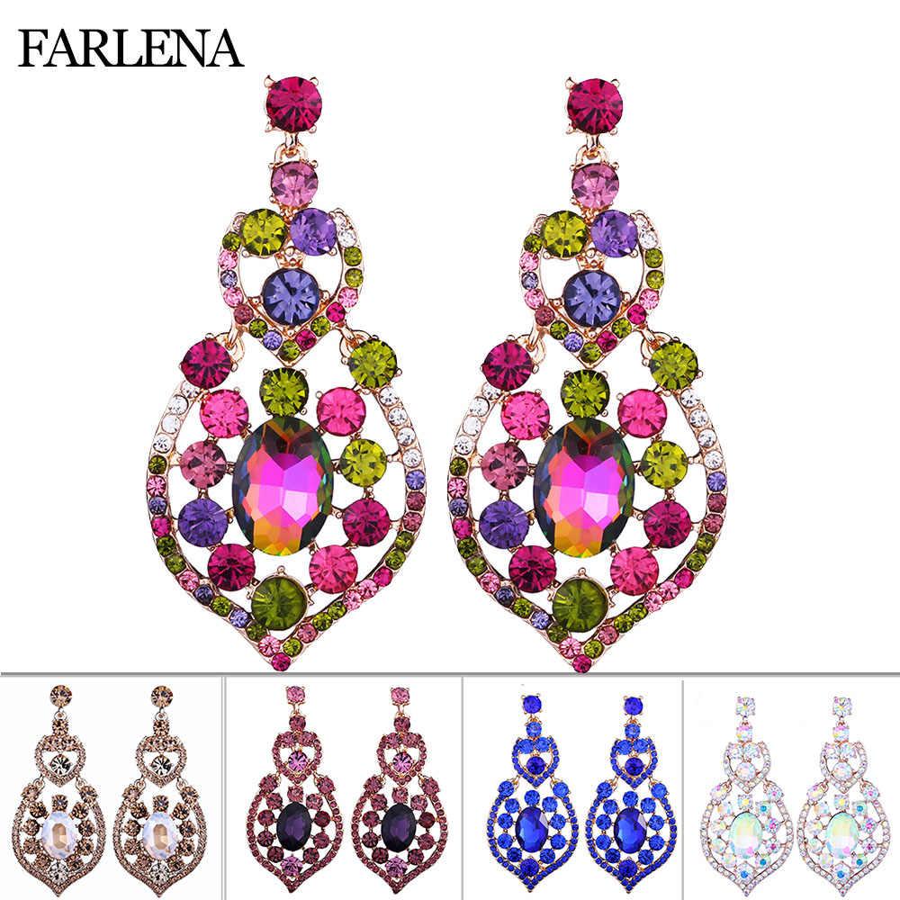 Farlena Multicolore Gioielli Completa Strass Orecchini a Pendaglio da Cerimonia Nuziale di Modo Del Partito Orecchini
