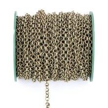 2 m/lote Metal collar cadena 3,2/4,8/5,8mm joyería a granel cadena rodio/KC oro/Gunblack/bronce antiguo para hacer joyas hallazgos