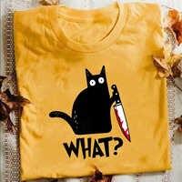 Katze War T Hemd Murderous Katze Mit Messer Lustige Halloween Geschenk T Shirt Unisex Baumwolle T shirts für männer und frauen