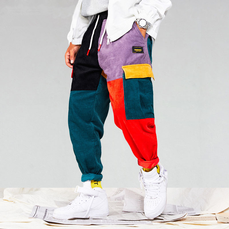 Brand Men Corduroy Patchwork Pockets Cargo Pants 2018 Harem Joggers Harajuku Sweatpants Hip Hop Streetwear Trousers