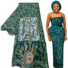 Bestway – tissu africain en dentelle, longueur 5 Yards, matériel de couture pour robe de soirée nigériane Asoebi, paillettes perlées brodées, filet français, 2021