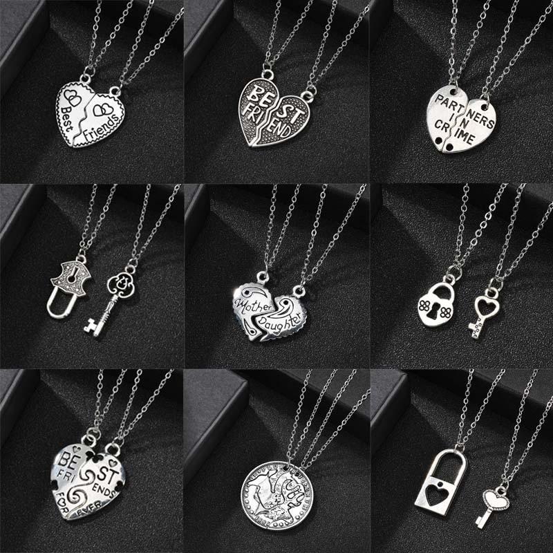 Retro Lock Key Hollow Best Friends Necklace Fashion Friendship Heat Pendant Necklace For Women Men Couple Jewelry Christmas