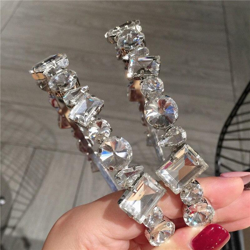Baroque Crystal Rhinestone Headbands For Women Gem Crown Flower Hairband Fashion Bezel Hair Accessories Headwarp