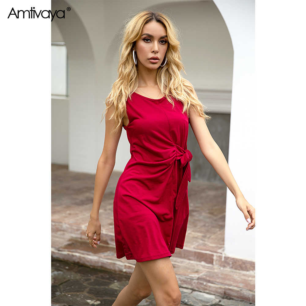 Amtivaya Taille Strik Fold Sexy Party Dress Vrouwen Mouwloze Elastische Mini Jurk Vintage Zomer Bodycon Club Wear Vestidos 2020.