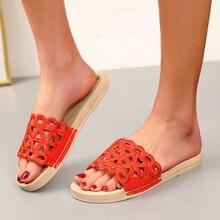 Sandales ajouré pour femmes, tongs, couleur unie, chaussures d'extérieur, de plage, plates, de styliste, nouvelle collection été 2021