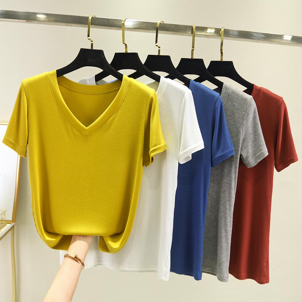 Chic Casual 95% Cotton T Shirt Ribbed Short Sleeve Women Summer Basic V-neck T Shirt Plus Size Candy Color T-shirt Tee Female