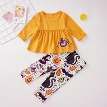 New Fashion Toddler Kids Baby Girls Halloween Long Sleeve Cartoon Spider Print Tops +Pants 2PCS Outfits