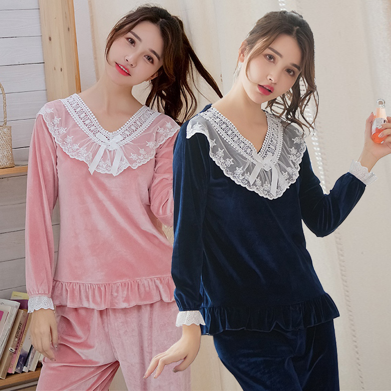 2020 Autumn Winter Long Sleeve Gold Velvet Pajama Sets Women Cute Lace V-neck Sleepwear Suit Homewear Pijama Mujer Home Clothes
