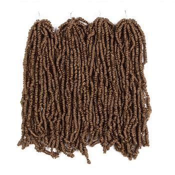 Naturalne włosy 20 cali pasja Twist włosy pre-zapętlony puszysty szydełkowy warkocz perwersyjne włosy brązowe włosy plecione Pre skręcone szydełkowe włosy tanie i dobre opinie Nature Włókno odporne na wysoką temperaturę CN (pochodzenie) Passion Twist 60 nici opakowanie Kolor fortepianu B-YD513P 16 4PCS 280g