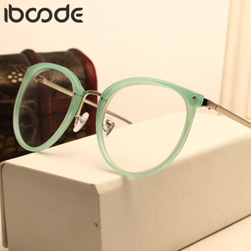 Iboode Fashion Optical Glasses Transparent Lens Myopia Eyeglasses Women Vintage Metal Spectacles Womens Designer Eyeglass Frames