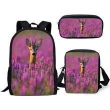 ELVISWORDS Fashion Kids Backpack 3PCs Set Flower Deer Pattern School Book Bags Kawaii Animal Design Students