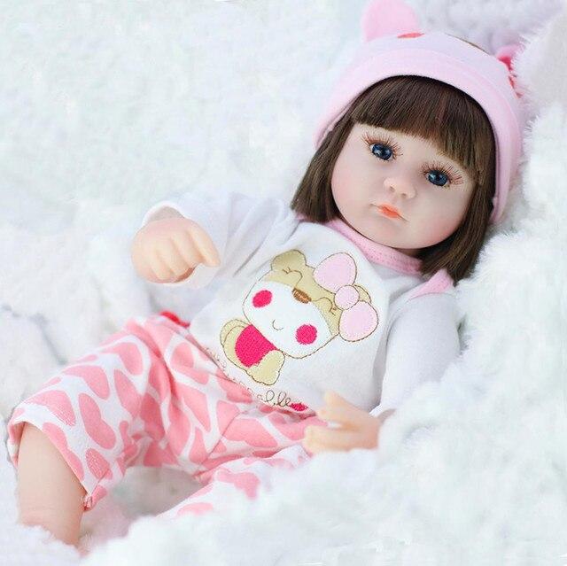 42cm Straight Hair Reborn Baby Doll Adorable Soft Lifelike Doll Simulation Bebe Doll Toys For Girls 3