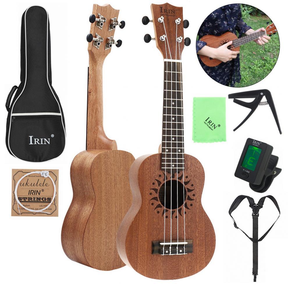 21 pouces Soprano ukulélé sapélé bois fleur trou sonore 15 frette quatre cordes guitare + sac + accordeur + ficelle + Capo + sangle + tissu