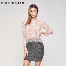 цены на PHI PHI STAR Sexy women autumn Shirt blouse Casual smock O-Neck office ladies Lace blouse girls tops lace clothing Long sleeve в интернет-магазинах