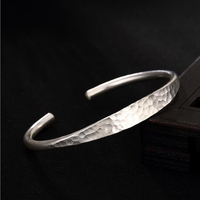 925 Sterling Silver Thai Hand made pit Bracelet Lady Fashionable Personality Simple Opening Adjustable Bracelet Accessories