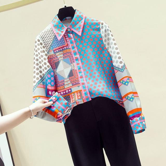 Autumn 2020 New Blouse Patchwork Simulation Silk Shirt Female Top Korean Niche Polka Dot Long-Sleeved Blusa GX1438 1