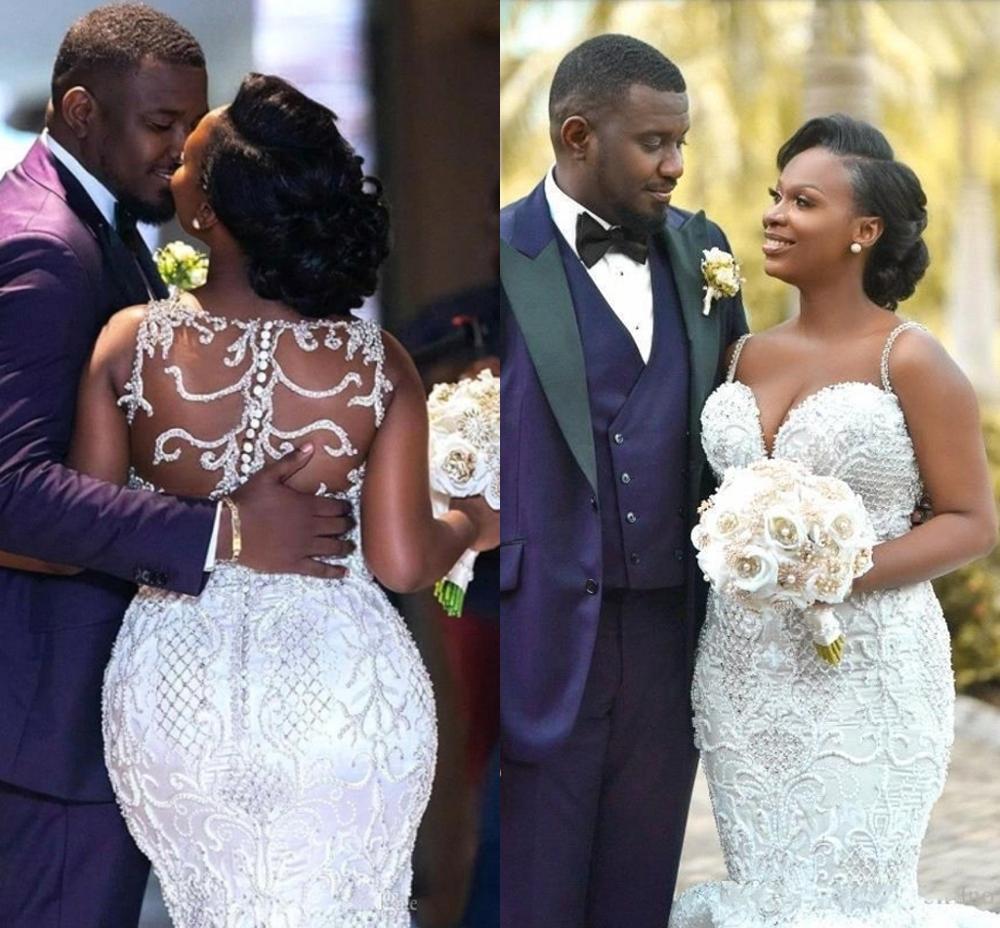 2020 Luxury Crystals Bead Black Girl Mermaid Wedding Dresses Sexy Newest Spaghetti Sheer Back Plus Size Bridal Gown Custom Made
