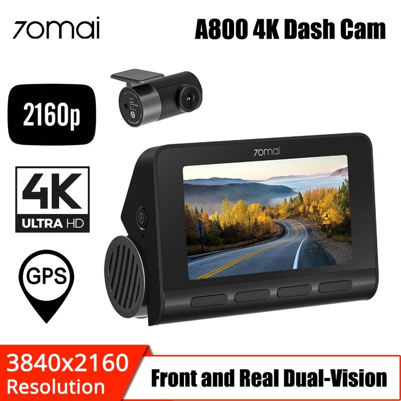 70mai a800 4k traço cam 4k gps embutido adas dvr dupla visão 140 fov real 4k uhd cinema-qualidade câmera de vídeo