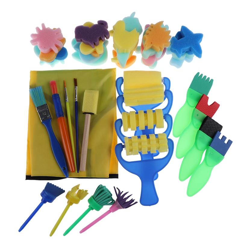 48pcs /Set DIY Flower Stamp Sponge Brush Set Art Supplies For Kids Painting Tools Stamps Toys