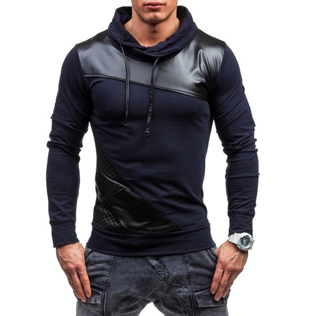 ZOGAA 2019 PU Leather Mens Polo Shirt Long Sleeve Slim Patchwork Lapel Polos Casual Leather Splice Cool Polos Autumn Male Tops