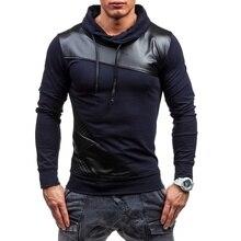 Zogaa 2019 dos homens de couro do plutônio camisa polo manga longa magro retalhos lapela polos casual couro splice legal polos outono masculino topos