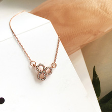 Tiny Flower Necklace for Women SHORT Chain Crystal Pendant Necklace Gift Rose gold Necklace For Women Jewelry Girl Stedent Gifts