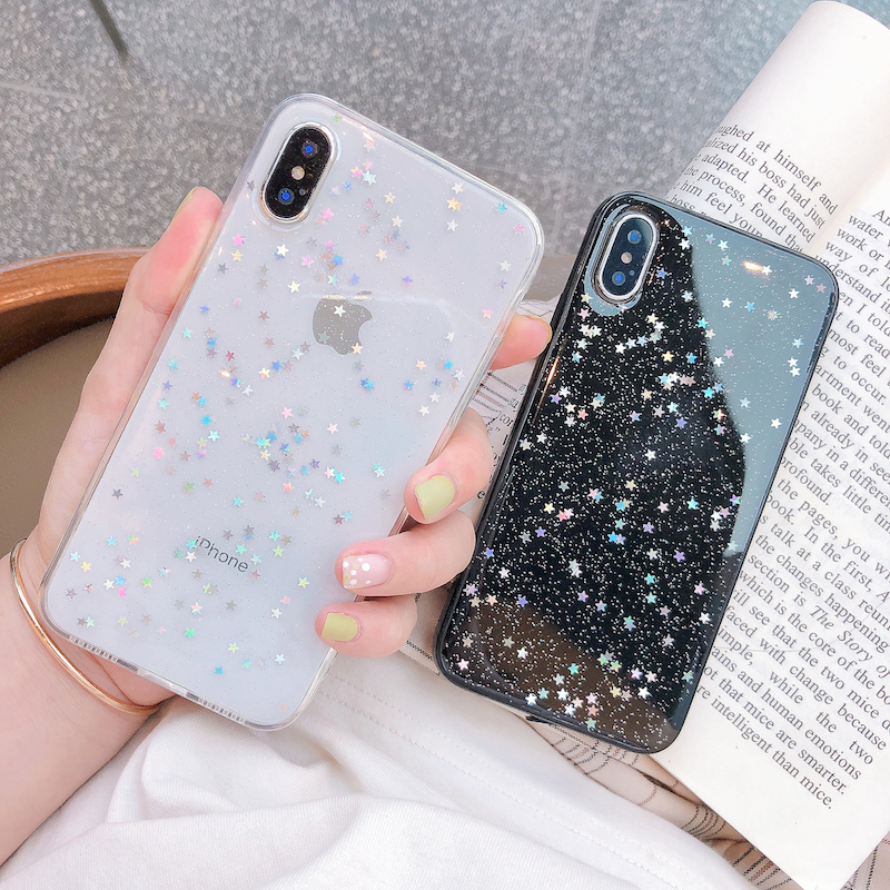 H93a7648c58704429ab85eb0556fef0a36 - Ottwn Glitter Phone Case For iPhone 11 Case 11 Pro XS Max XR X 6 6s 7 8 Plus Love Heart Star Sequins Soft Bling Clear Cover Capa