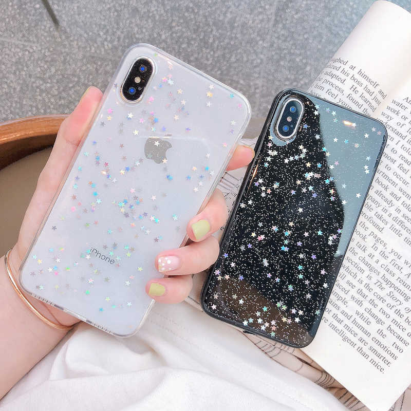 Ottwn Glitter Phone Case Voor Iphone 11 Case 11 Pro Xs Max Xr X 6 6 S 7 8 Plus liefde Hart Ster Pailletten Zachte Bling Clear Cover Capa