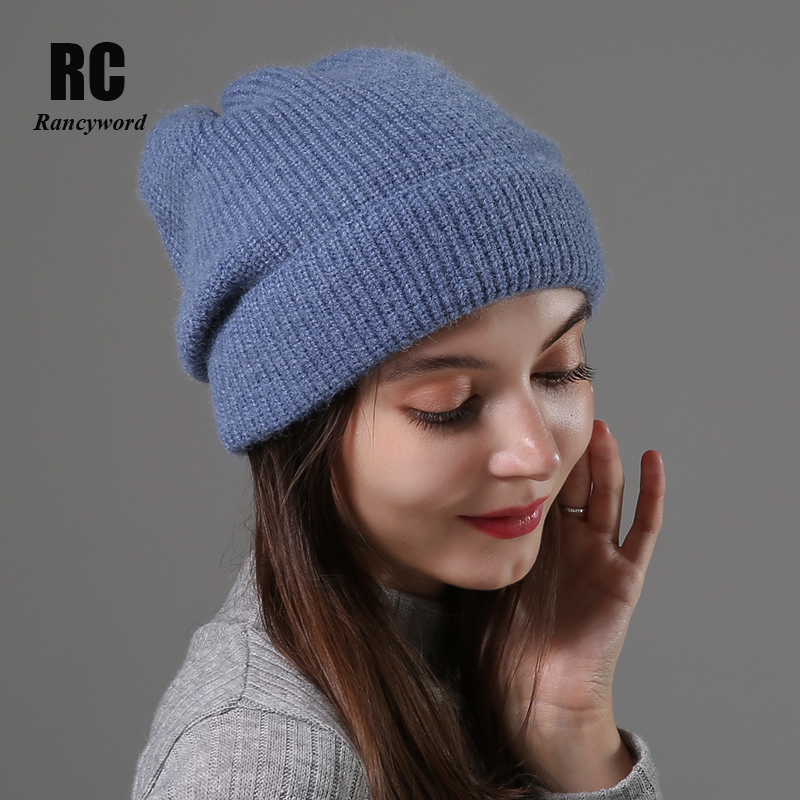 [Rancyword] Knitted Beanie Hat For Women Autumn Winter High Quality Soft Warm Skullies Hats Girls Knitted Hats Bonnet  RC2069