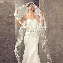 ลูกไม้ Appliques One ชั้น 3 เมตรยาว Veils แต่งงาน Veils หวี Vintage เจ้าสาวอุปกรณ์จัดงานแต่งงาน