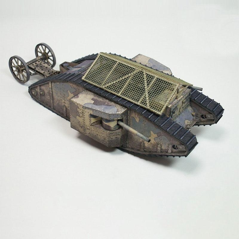 1//35 scale. Cardboard model kit British heavy tank Mark-V WW I Red Army