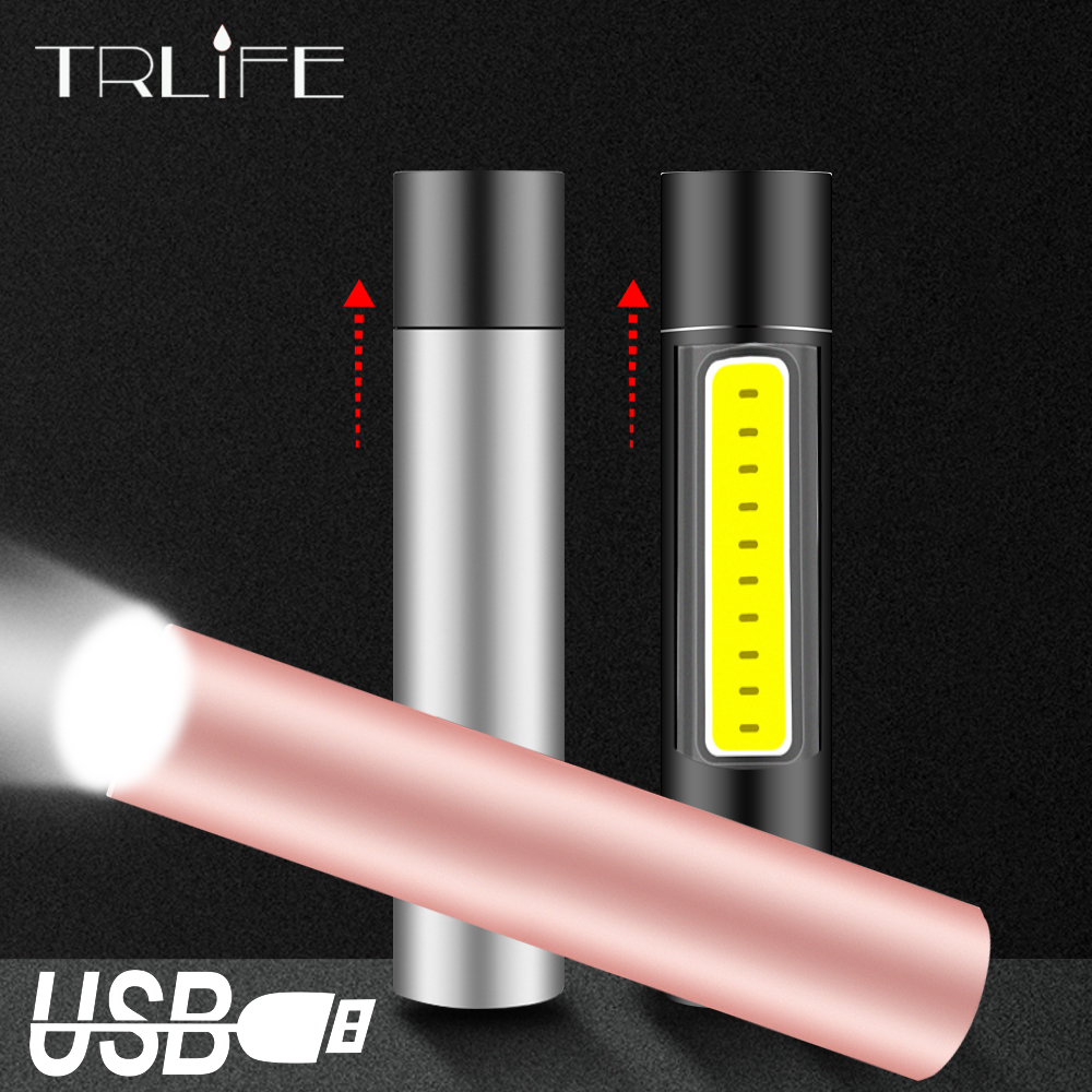 USB Rechargable Zoom Mini LED Flashlight 600mAH Waterproof Penlight 3 Mode Portable Torch Stylish Suit For Night Lighting