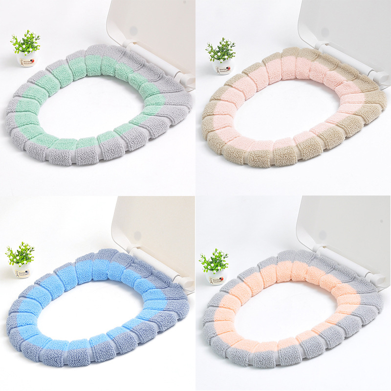 Comfortable Universal Toilet Seat Cover Warm Soft Reusable Flannel Toilet Mat Seat Case Toilet Lid Cover Bathroom Products(China)