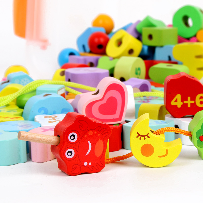 Wood Children Threading Beads Toy Boxed With Numbers Lettered Animal Building Blocks Beaded Bracelet Sub-1-3 Years Old Early Edu