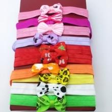 20pcs/lot 2.75 inch kids Sweet Small Bow Elastic Hair Bands Polka Dot Grosgrain Ribbon Bows Headband Accessories