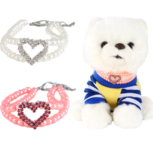 Dog Collar Shiny Heart Shape Pendant Collars Small Animals Necklace  Collier Chien for Medium Large Dogs