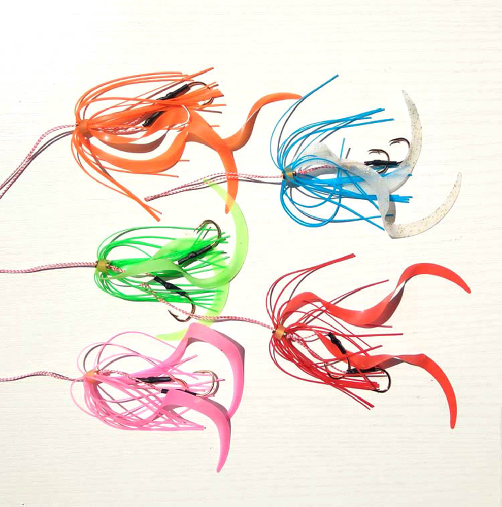 13# 50pcs Silicone Skirt Rubber jig skirt hooks Assist hook jigging hook sea fishing hook Jig head fishing hook super strong