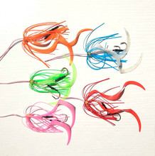 13# 50pcs Silicone Skirt Rubber jig skirt hooks Assist hook jigging sea fishing Jig head super strong