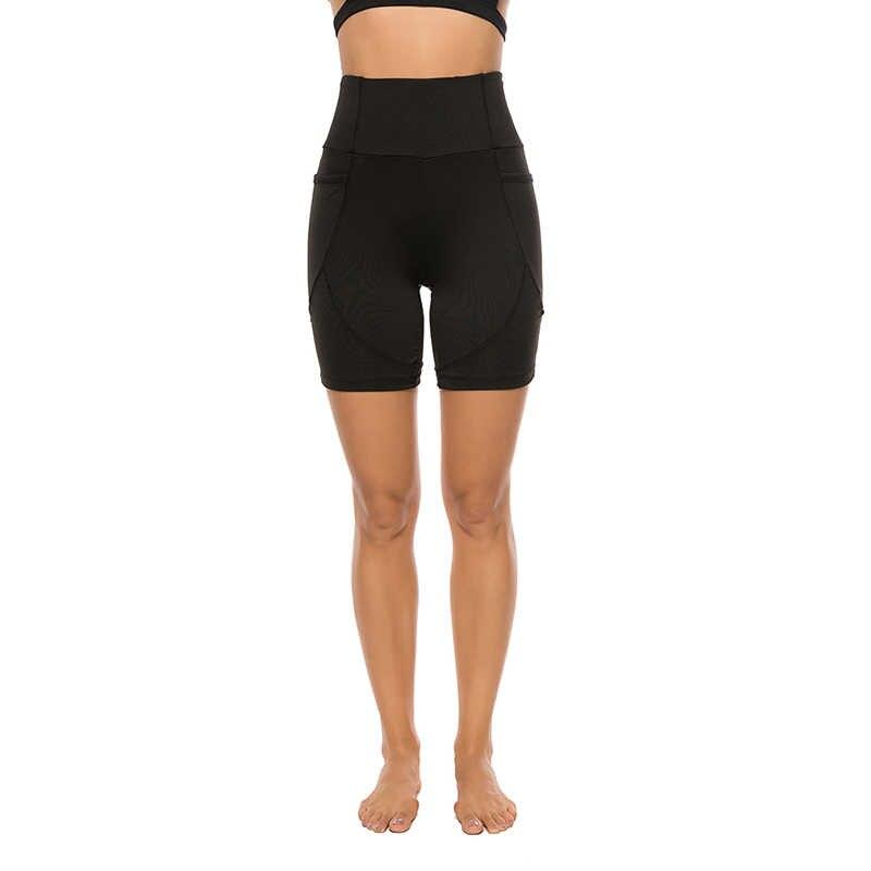 Kobiety wysoka talia Push Up Legging stałe Skinny krótkie legginsy z kieszeniami kobiety krótkie spodenki Fitness kobiety Crop spodnie