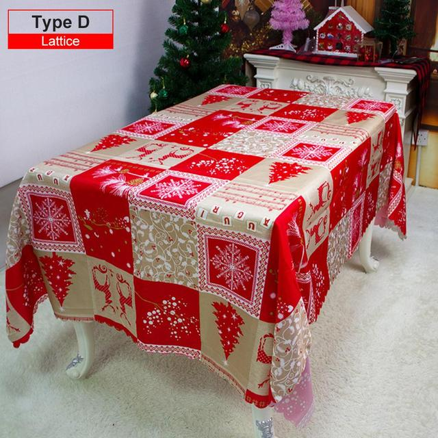 150x220 cm Rectangle Christmas Decorative Snowflakes Design Water and oil proof Red Tablecloths for Home Kitchen Dinner Party 1