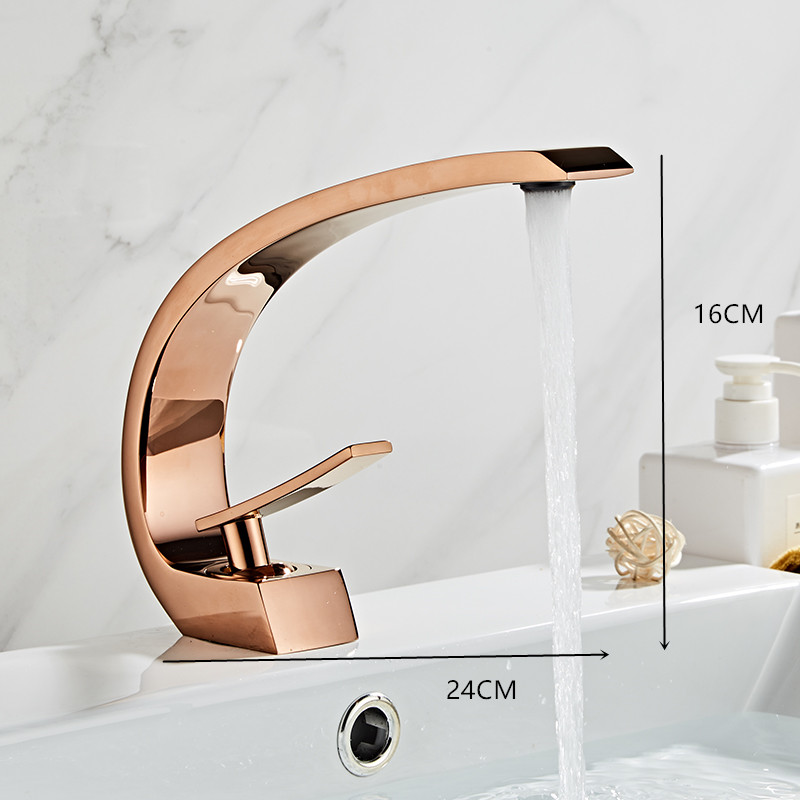 Tuqiu Basin Faucet Modern Bathroom Mixer Tap Black Gold Wash basin Faucet Single Handle Hot and Tuqiu Basin Faucet Modern Bathroom Mixer Tap Black/Gold Wash basin Faucet Single Handle Hot and Cold Waterfall Faucet