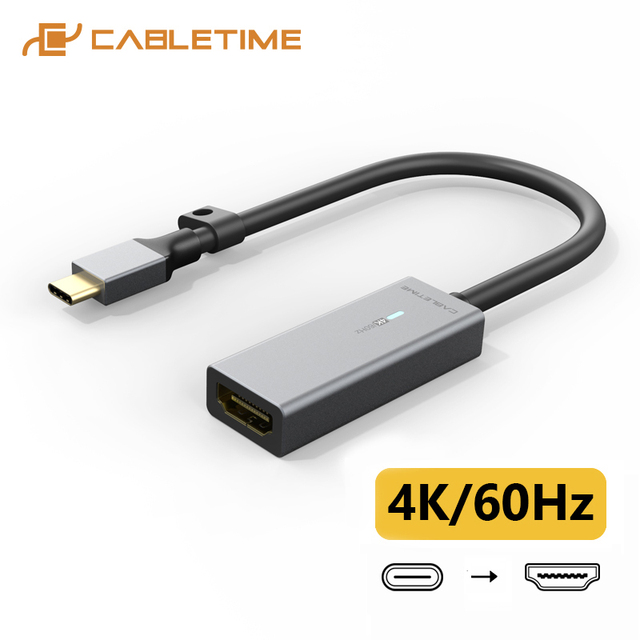 CABLETIME USB C כדי HDMI מתאם 4K 60Hz נתונים סנכרון אלומיניום סגסוגת ממיר עבור מחשב נייד Dell Acer C382