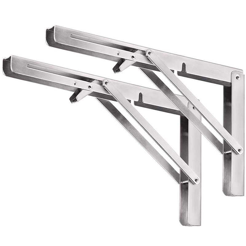 Heavy Duty Folding Shelf Brackets, 2Pcs Stainless Steel Collapsible Shelf Bracket With Mounting Screws For Table Work Bench, Spa
