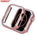 Caso de diamante para apple assistir série 4 5 40mm/44mm iwatch tela capa protetora caso de relógio para apple caso 38mm/42mm