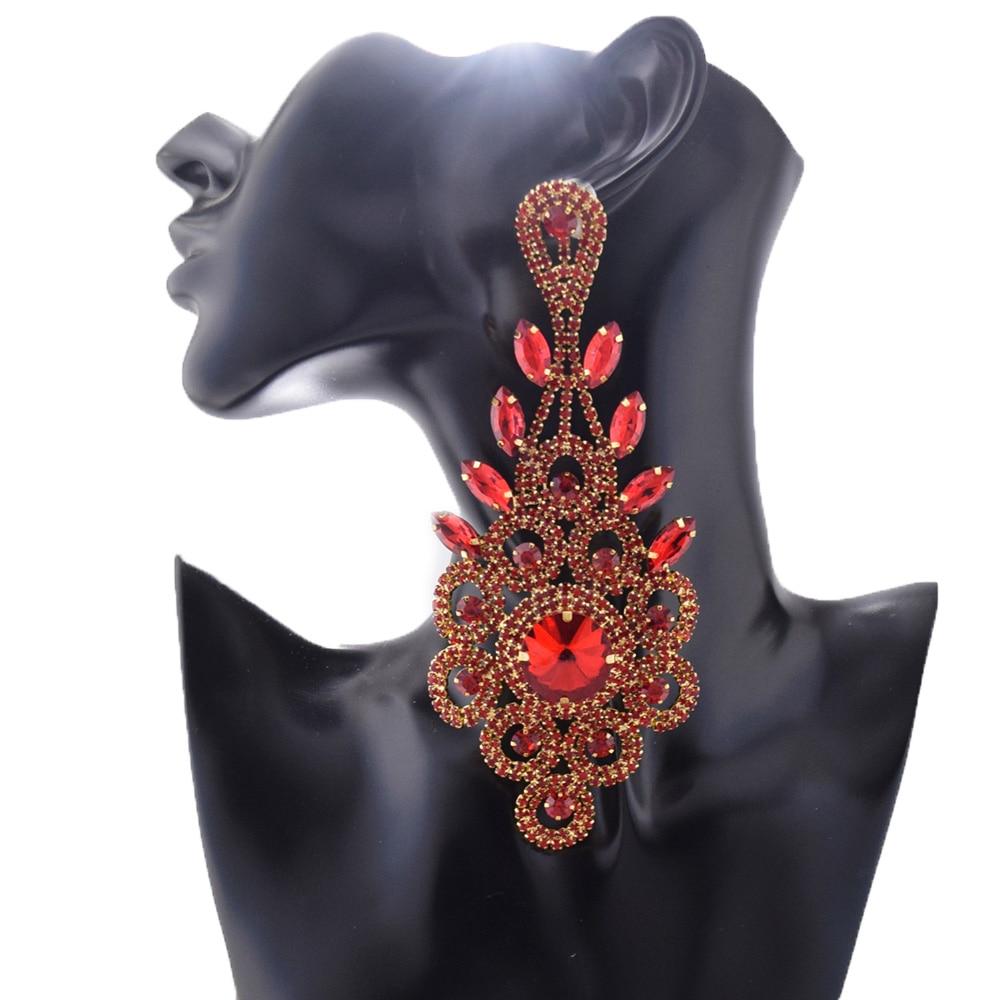 Big Size Earrings For Women Long Dangle Statement Drop Earrings New Stripe Exaggerated Earrings Rhinestone Glass Shiny