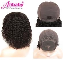 Alibaby малазийский кудрявый парик Боб парик фронта шнурка человеческих волос парики волна воды Remy 4x4 закрытие парик натуральный цвет парик фронта шнурка