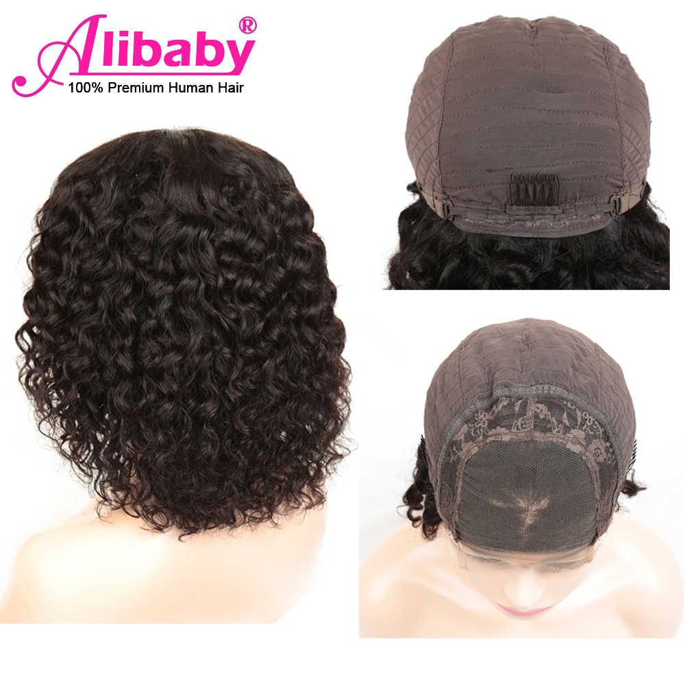Alibaby malaio encaracolado peruca bob peruca frente do laço perucas de cabelo humano onda água remy 4x4 encerramento peruca cor natural peruca dianteira do laço