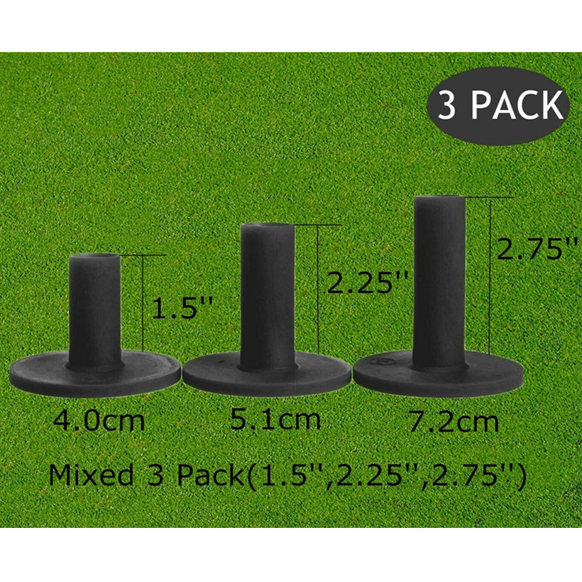 Golf  Tees 83mm 70mm Rubber Tee For Driving Range Practice Tools Durable Training Ball Holder 3 Pcs/Set Black Drop Shipping