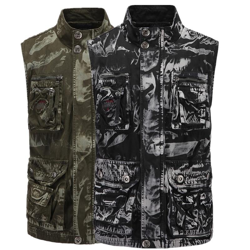 2020 novo colete de montanhismo masculino com ferramentas camuflagem colete algodão sem mangas jaqueta roupas trabalho dos homens tático streetwear