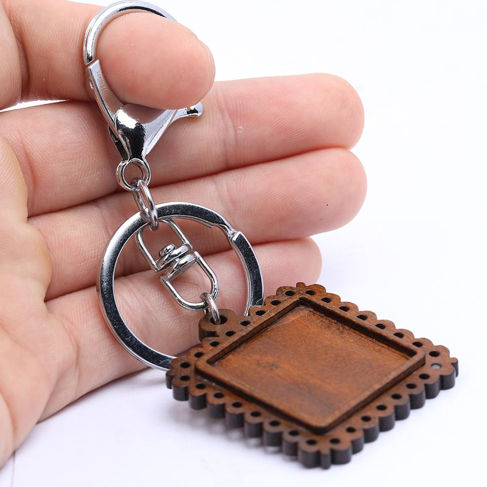 Reidgaller 1pcs Fit 25mm Square Cabochon Wood Keychain Base Diy Key Ring Metal Clasp Hooks Findings